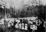 Picture relating to Queensland - titled 'Children assembled in a school yard, ca. 1910'