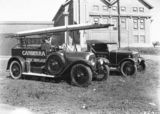 Picture relating to Canberra - titled 'Canberra Fire Brigade fire appliance and brigade car (Armstrong Siddeley) outside Kingston Power Station'