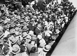 Picture relating to Scullin - titled 'Mr & Mrs Scullin with the welcoming crowd at Canberra Railway Station'