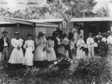 Picture relating to Alderbury - titled 'Sunday School picnic group - boarding the train for home, Alderbury, ca. 1898'