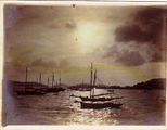 Picture relating to Thursday Island - titled 'Thursday Island sunset with pearling luggers (sailing ships)'