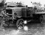 Picture relating to Kilcoy - titled 'Starting the Burt Brothers' truck, Kilcoy, ca. 1928'