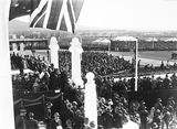 Picture relating to Parliament House - titled 'Royal Visit, May 1927 - Crowds at the front of Old Parliament House from the east.'