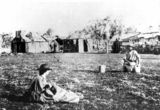 Picture relating to Queensland - titled 'Pioneers' camp, ca. 1865'