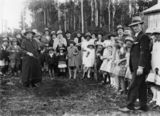 Picture relating to Mount Tamborine - titled 'Tree planting ceremony at Mt. Tamborine school, ca. 1935'
