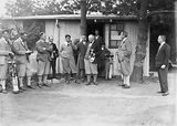Picture relating to Canberra - titled 'Right Honourable SM Bruce and group of golfers at the Royal Canberra Golf Club'
