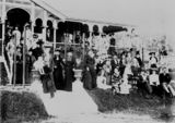 Picture relating to Newmarket - titled 'Large party of people gathered for a house warming at 'Sedgley Grange', Newmarket, Brisbane, 1900'