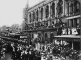 Picture relating to Brisbane - titled 'Parade in Queen Street, Brisbane, Queensland, 1914'
