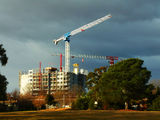 Picture relating to Lyneham - titled 'C0nstruction Cranes on the Lyneham skyline'