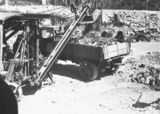 Picture relating to Black Mountain - titled 'Steam shovel loading motor truck at reservoir at Black Mountain'