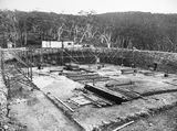 Picture relating to Black Mountain - titled 'Black Mountain Reservoir excavation. Formwork and reinforcement being installed ready for concreting.'