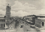 Picture relating to Townsville - titled 'View of Flinders Street featuring the clock tower, Townsville, ca. 1900'
