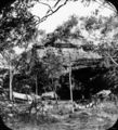 Picture relating to Queensland - titled 'Camp site, including a washing line, at the base of a rock formation'