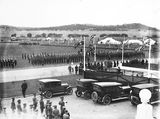 Picture relating to Parkes - titled 'Royal Visit, May 1927 - Army and Navy Troops on Parkes Place during rehearsal.'