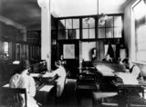 Picture relating to Brisbane - titled 'Accounts branch, Government Printing Office, Brisbane, 1921'