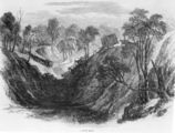 Picture relating to Queensland - titled 'Drawing of two ox teams negotiating a steep valley'