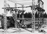 Picture relating to Kingston - titled 'Electrical switchyard and transformers for 66 KV power supply from Burrunjack Dam at the Kingston Power Station'
