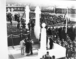 Picture relating to Parliament House - titled 'Royal Visit, May 1927 - Troops, spectators and Army Band outside Old Parliament House and official guests.'