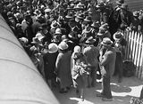 Picture relating to Canberra - titled 'Arrival of Mr and Mrs. Scullin at Canberra Railway Station. Part of the welcoming crowd.'