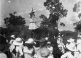 Picture relating to Mount Morgan - titled 'Girl dancing to a bagpipe on Mt. Morgan, Queensland, ca. 1916'