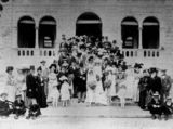 Picture relating to Ipswich - titled 'Wedding party on the steps of Brynhyfryd, Ipswich, 1901'