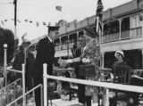 Picture relating to Charleville - titled 'Princess Alexandra at a civic reception outside the Hotel Corones, Charleville, 1959'