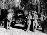 Picture relating to Queensland - titled 'Members of the Forest Service enjoy a tea break by the side of the road, 1930-1940'