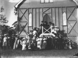 Picture relating to Kerry - titled 'On the steps of St John's Roman Catholic Church, Kerry, Queensland, ca. 1907'