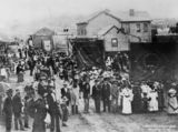 Picture relating to Brisbane - titled 'Sunday School procession in lower Albert Street, Brisbane, ca. 1886'