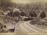 Picture relating to Spring Bluff - titled 'Train halted at Spring Bluff Station near the summit of Main Range'