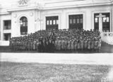 Picture relating to Parliament House - titled 'Group photograph of Young Australia League Party in front of Old Parliament House'