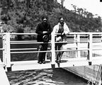 Picture relating to Cotter Dam - titled 'Cotter Dam. Men on bridge to valve tower.'