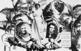 Picture relating to Queensland - titled 'Queensland Jubilee 1859-1909 postcard including the allegorical figure of Britannia?, Governor Bowen and Lord Chelmsford'