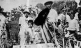 Picture relating to Thursday Island - titled 'Unveiling a tombstone, Thursday Island, ca. 1927.'