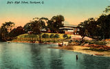Picture of / about 'Southport' Queensland - Hand coloured postcard of the Boys' High School at Southport, Queensland