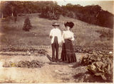Picture relating to Thursday Island - titled 'George and Maggie in vegetable plot, Thursday Island'