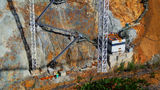 Picture relating to Cotter Dam - titled 'Close-up of lower works of new Cotter Dam wall'