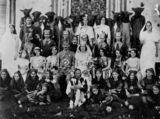 Picture relating to Marburg - titled 'Cast of an amateur dramatic society production of Beauty and the Beast at Marburg, ca. 1910'