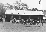 Picture relating to Canberra - titled 'Opening of Mt Russell School, Canberra. Building was relocated from Ainslie.'