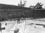 Picture relating to Black Mountain - titled 'Black Mountain Reservoir, under construction. Form work and reinforcement for concreting being erected.'