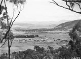 Picture relating to Ainslie - titled 'View from Mt Ainslie over Reid area showing Civic Centre under construction and Acton area'