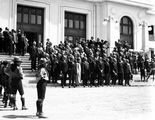 Picture relating to Canberra - titled 'Empire Parliamentary Association delegates on the steps of Old Parliament House - Canberra Boy Scouts providing Guard of Honour'