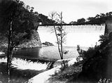 Picture relating to Cotter Dam - titled 'Cotter Dam wall and Stilling Pond'