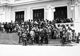 Picture relating to Parliament House - titled 'Visiting AmericanTourists from SS Malole, on the steps of Old Parliament House .'