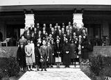 Picture relating to Canberra - titled 'Group photo of Canberra Philharmonic Society in front of the Canberra Hotel'