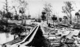 Picture relating to Theodore - titled 'Orange Creek Weir under construction, Theodore, 1932'