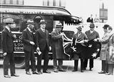 Picture relating to Parliament House - titled 'Federal Capital Commissioners with the promotors of the Metro Goldwyn Mayer Trackless Train outside Old Parliament House'