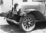 Picture relating to Queanbeyan - titled 'Accident between a Douglas motor cycle and a motor car, Lenane Road, Queanbeyan - Damaged left hand front mudguard of the motor car.'