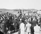 Picture relating to Canberra - titled 'Foundation Stone ceremony for Masonic Lodge Canberra 'This Stone Was Laid By Most Worshipful Brother William Thompson PGM On November 23 1935. National Circuit, Barton. National Library on right.'