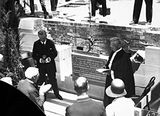 Picture relating to State Circle - titled 'Govenor General, Lord Stonehaven and Moderator General, The Right Rev. Alexander Crow at the Foundation Stone laying ceremony at Presbyterian Church of St Andrew, State Circle, Forrest.'